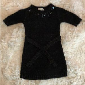 Girls Black with Gold Inlay Belted Sweater Dress